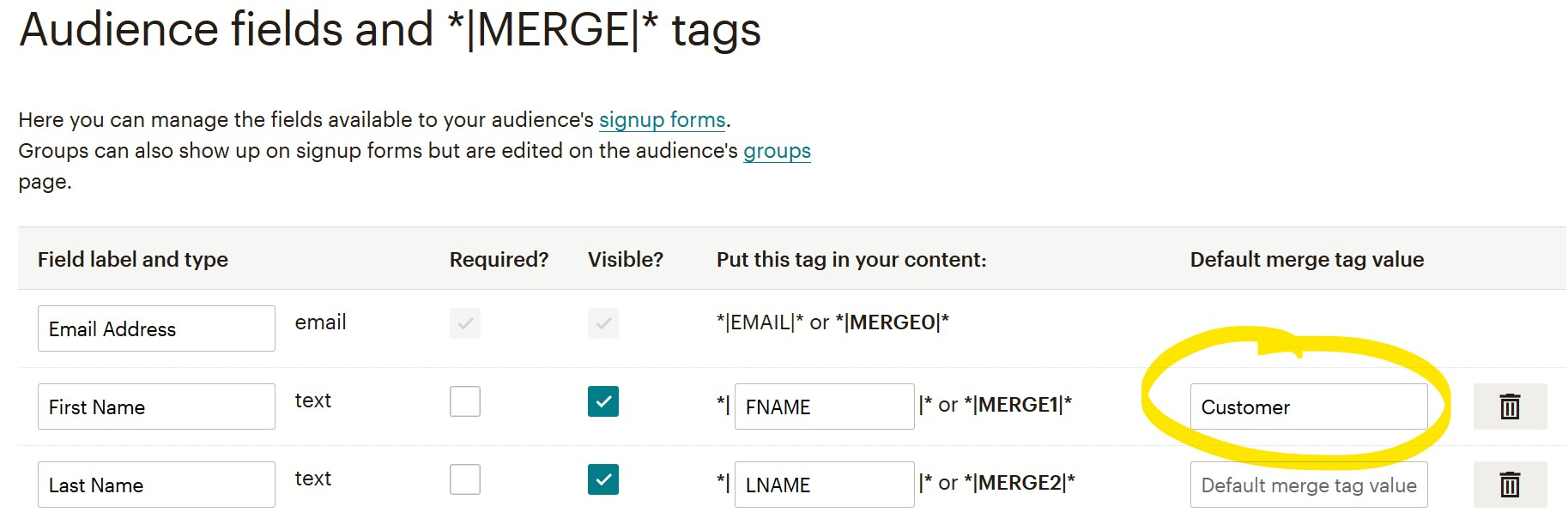 Where to enter the default merge tag value foe a Mailchimp first name.